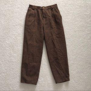 Vintage brown grid trouser pants